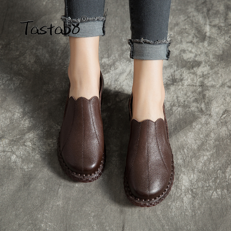 Tastabo Fashion Oxford Shoes Vintage Shoes Soft Leather Black brown Comfortable soft soled shoes Casual wild