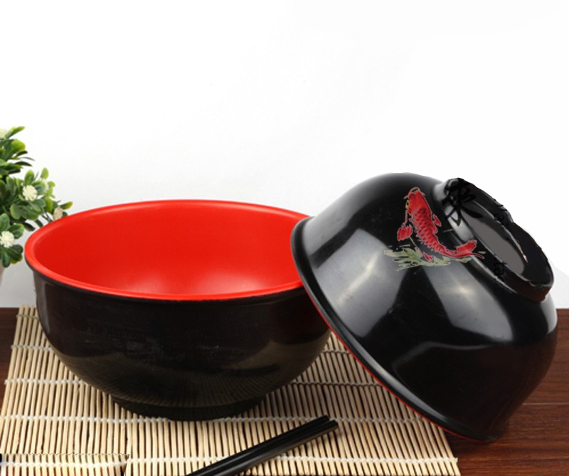 Free Shipping Instant Noodles/Steamed Rice Soup Bowl Of Korean Style Melamine  Tableware In Red And Black wall shelf for tea pots