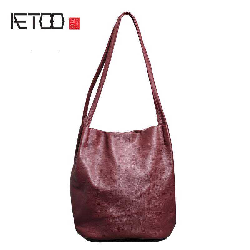 AETOO Shoulder bag female new Korean version of the wild leather handbag leather leather bag temperament soft leather matte bag aetoo first layer of leather shoulder bag female bag korean version of the school wind simple wild casual elephant pattern durab