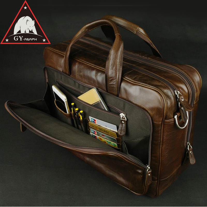 купить ANAPH Original Soft Genuine Leather Briefcase For Men Business Travel Bags Attached 17 Inch Laptop Bag Large Capacity Coffee по цене 7819.71 рублей