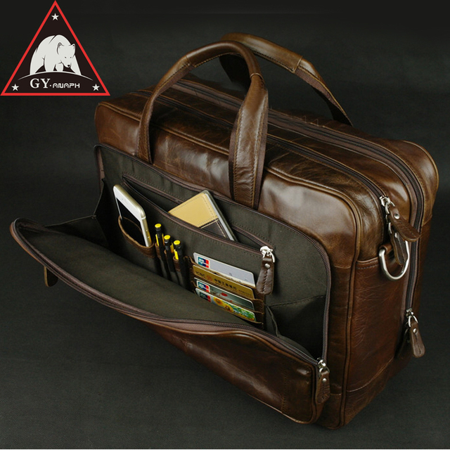 Anaph Original Soft Genuine Leather Briefcase For Men Business Travel Bags Attached 17 Inch Laptop Bag Large Capacity Coffee