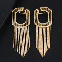 GODKI 58MM lujo largo borlas africano pendientes colgantes para mujeres boda cúbico zirconio cristal CZ Dubai indio pendientes de novia