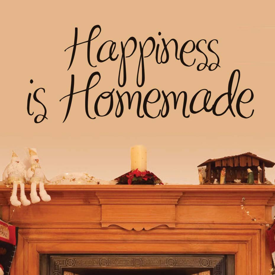 Happiness Is Homemade Wall Stickers Quote Modern Design Waterproof ...