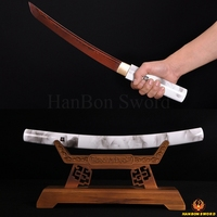 FULL TANG JANPANESE SAMURAI DAMASCUS SWORD TANTO FOLDED STEEL BLACK&RED BLADE CUSTOM BATTLE READY