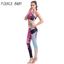 FIERCE BABY 2 Pieces Women Yoga Set Crop Top Shirts+Legging Pants Sports Sets Gym Running Clothing Fot Women Fitness