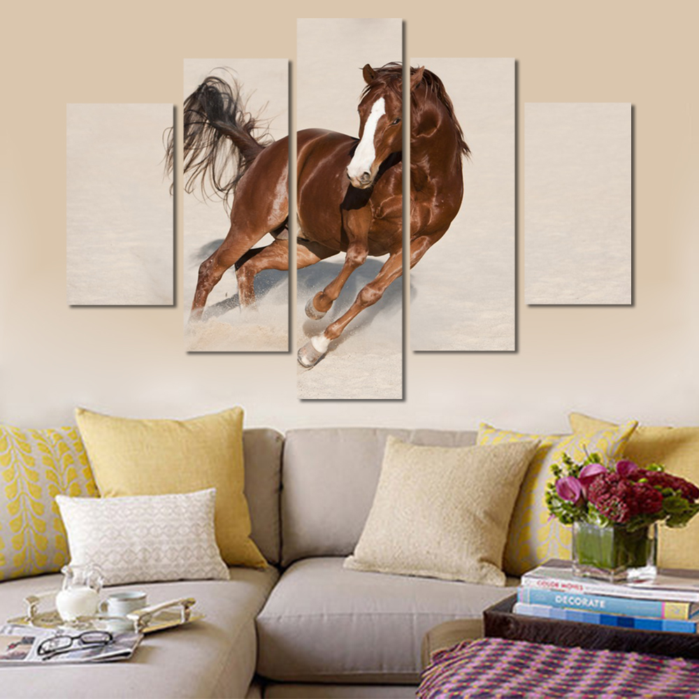 Unframed Canvas Animal Painting Running Brown Horse Picture Prints Wall Picture For Living Room Wall Art Decoration Dropshipping