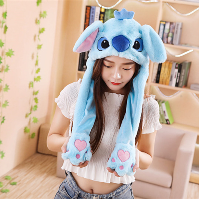 Creative Plush Rabbit Stitch Pikachu Ear Hats Pinching Moving Ears Winter Animals Caps Girls Cosplay Party Performance Costume