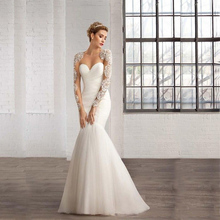 Noiva Custom Made White/Ivory Organza Beading Luxury Crystal Long SleeveMermaid Wedding Dress Vestido De Casamento