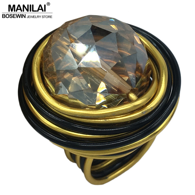 MANILAI Handmade Wire Spiral Shining Crystal Rings For Women Statement Jewelry F