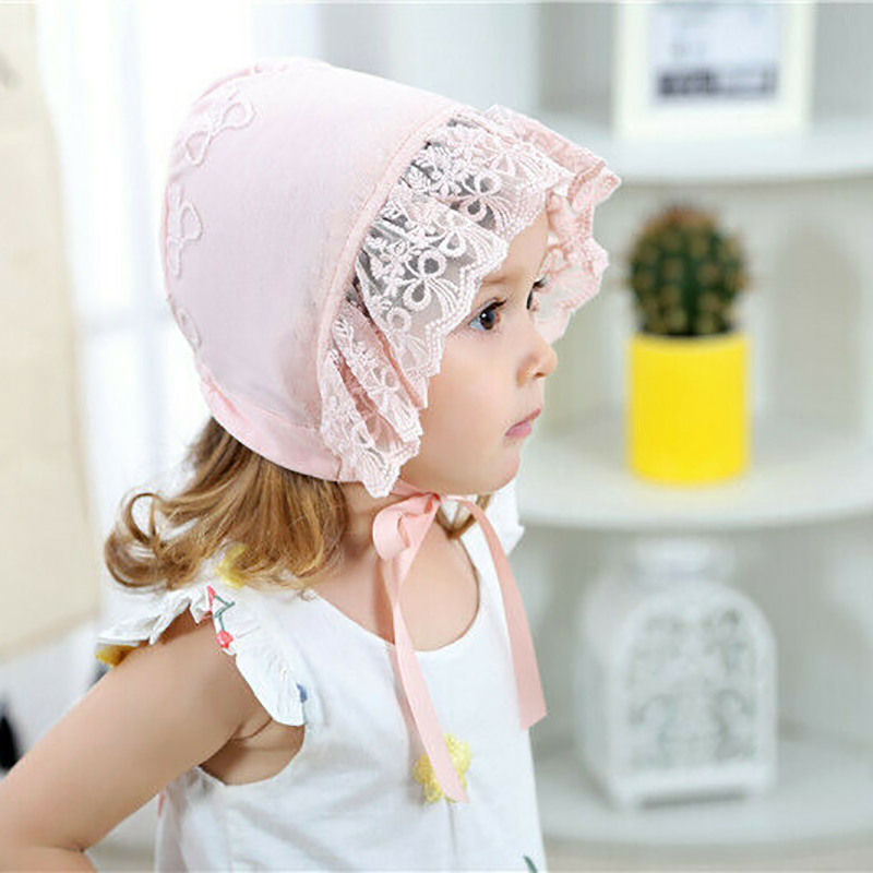 Baby Infant Christening Bonnet Beach Bucket Hat Baby Girl Sun Lace Cap Summer