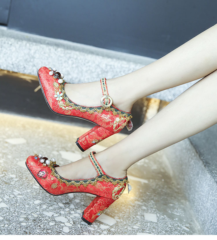 Red wedding shoes women crystal bead embroider Mary Jane Jacquard fabric shoes