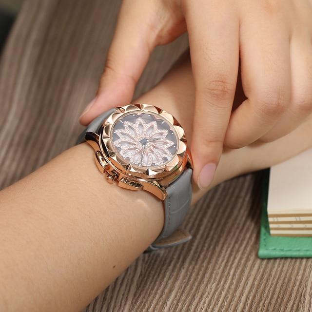merlots fashion genuine Leather women watches 360 degrees Rotating dial crystal diamond quartz watch rhinestone reloj mujer