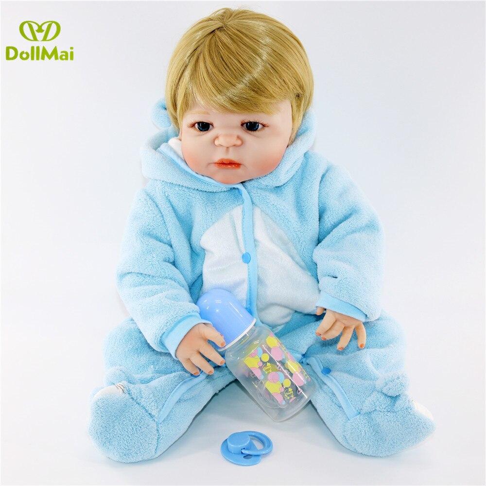 Bebe reborn poupées 57CM réaliste pleine Silicone bébé garçon poupée en mignon doux peluche vêtements vivants bébés poupées comme filles Playmate - 6