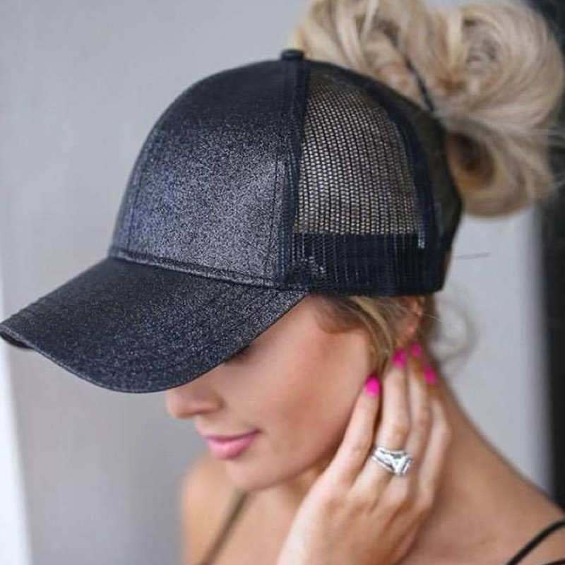 Popular Brand Glitter Ponytail Baseball Cap Messy High Ponytail Hat Women Messy Buns Girls Sequins Stretch Hat Summer Mesh Hats Moderate Price Apparel Accessories Women's Hats