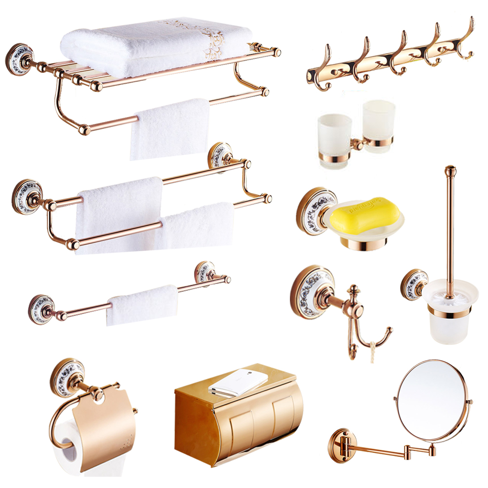 Copper wall mounted robe hook European rose gold towel rack bathroom soap dish double cup holdder bathroom hardware pendant set|Bath Hardware Sets|   - AliExpress