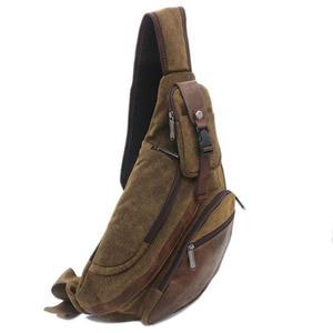 Image 2 - Men Canvas Sling Chest Day Back Pack Bag Travel Big Capacity Retro Cross Body Single Rucksack Shoulder Messenger Triangle Bag