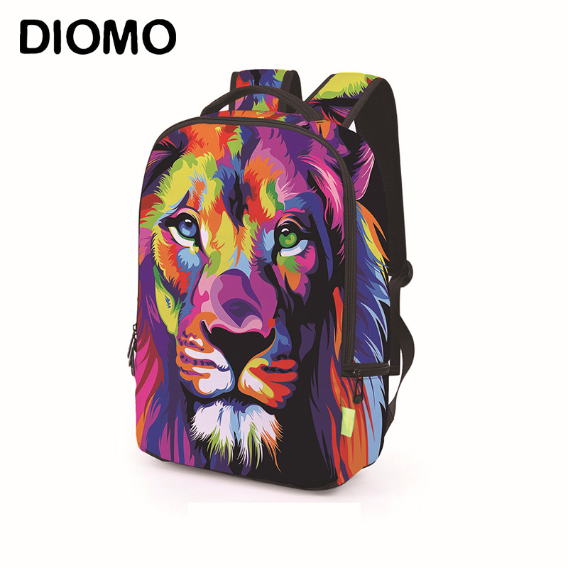 DIOMO 3D Roaring Lion, Dinosaur, Wolf And Cat Animal Pattern School Bags For Men For Teenager Dinosaur Bagpack Luxury Backpack