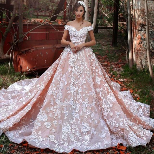 Us 458 0 Prachtige Roze Trouwjurk Met Kant Bloemen Kathedraal Trein Elegante Off The Shoulder Bruidsjurken Kleed De Mariage In Prachtige Roze