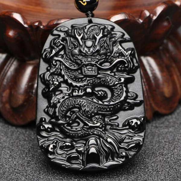 Natural Black Obsidian Dragon Pendant Beads Necklace Charm Jewellery Fashion Accessories Hand-Carved Baby Lucky Amulet Gifts