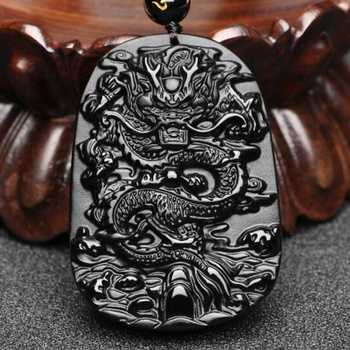 Fashion Natural Obsidian Dragon Pendant Necklace Lucky Charm Jewelry Amulet Hot