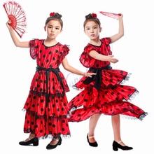Платье для девочек, красное платье для испанского фламенко с длинным Испания Flamengo юбки для детей; Детский костюм на Хеллоуин Бальные современный танцевальный костюм