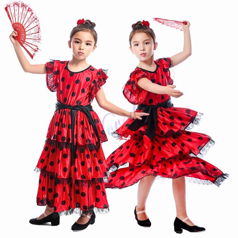 Girls Red Spanish Flamenco Dress Long Spain Flamengo Skirts Kids Child Halloween Ballroom Modern Dance Costume