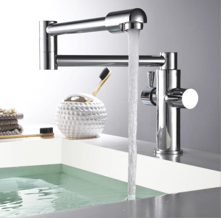 Hot & cold single lever hot and cold foldable kitchen faucet Swivel Black Oil Brushed/chrome Kitchen mixer Water tap sink faucet fashion brass chrome hot and cold single lever hot and cold kitchen sink faucet