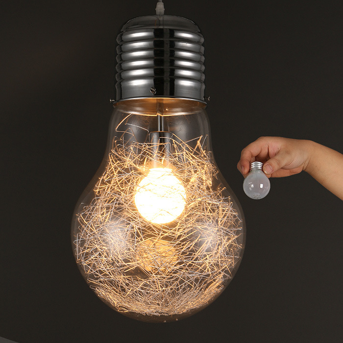 Creative Glass Big Bulb Pendant Lights Fixture Vintage Metal Large Hanging Lamp Bar Cafe Restaurant Indoor Room Luminaire Decor