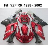 ערכת חרטום להריון ולידה עבור Yamaha YZF R6 98 99 00 01 02 אדומים שחור אופנועים מעטפת סט R6 1998-2002