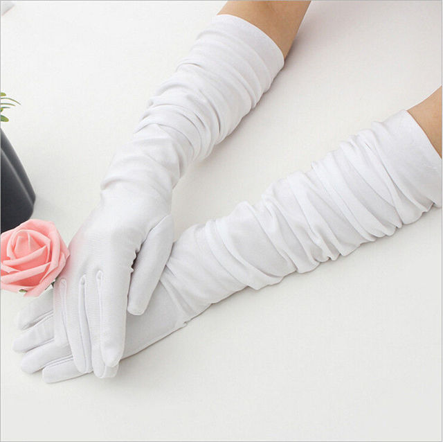 Classic Adult Black White Red Grey Skin Opera/Elbow/Wrist Stretch Satin Finger Long Gloves Women Flapper Gloves Matching Costume 4