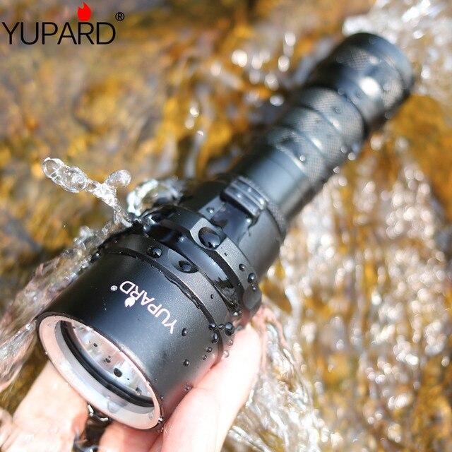 YUPARD дайвер водонепроницаемое нижнее белье XM-L2 светодиодный T6 светодиодный фонарик факел свет лампы для 1x18650 аккумуляторная батарея для кем...