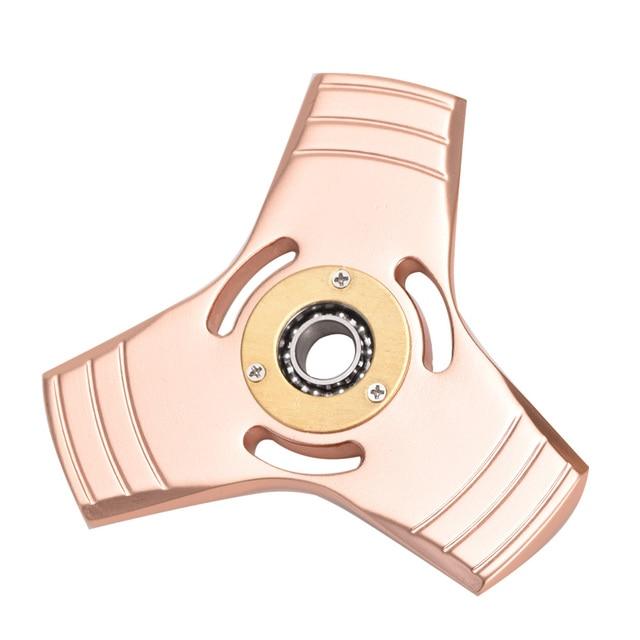 Spring Toy Hand Spinner Red Copper Torqbar Metal Tri Fidget Spinner Anti Stress Toys Gift Man Finger Toys Tops