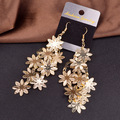 Fashion Jewelry Gold Plated & Silver Plated long tassel Earring Hollow out flower drop earrings for women