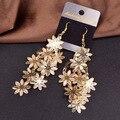 Joyería de moda de Oro y Plata Plateó la borla larga Pendiente Ahueca Hacia fuera la flor pendientes de gota para las mujeres