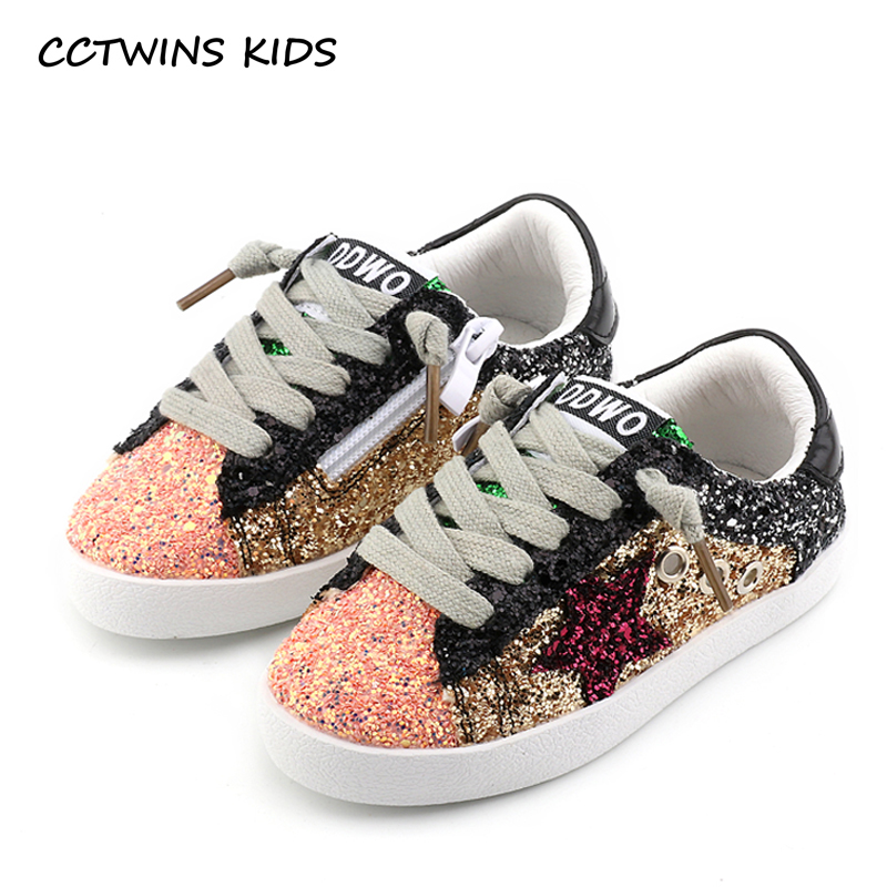 Cctwins Kids Toddler Baby Glittler Shoe Girl Star White Sneaker Boy Sport Shoe Kid Child Causal Trainer Sequin Flat F1550