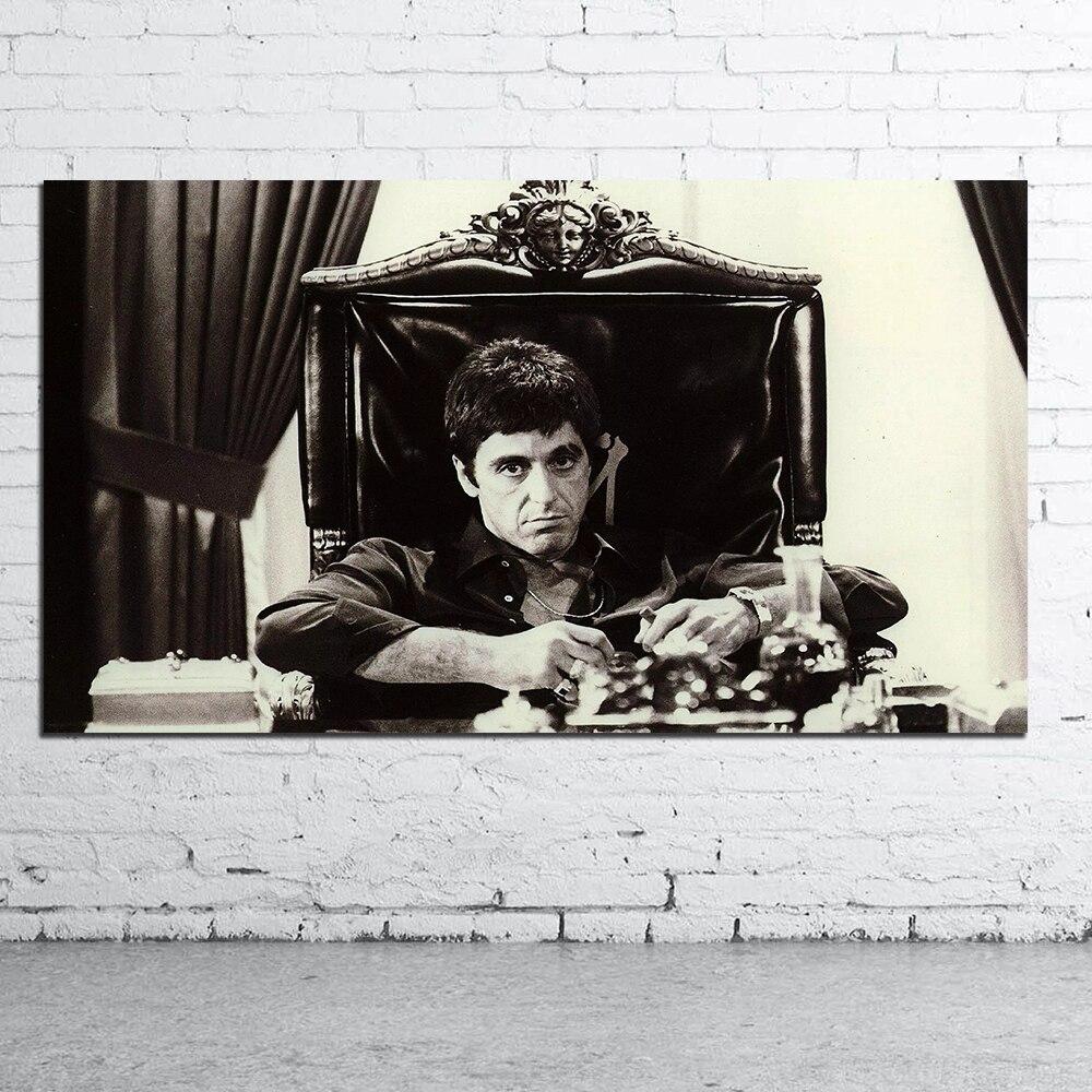 Póster de película AL Pino SCARFACE, decoración del hogar, imagen de pintura AL óleo para pared para sala de estar, lienzo Pop Art blanco y negro