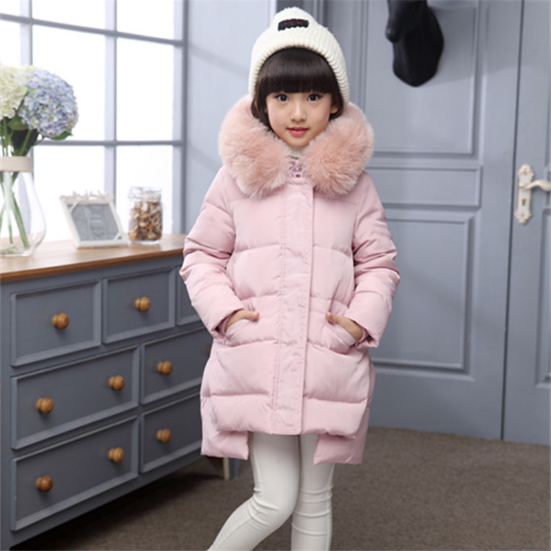 2017 Kids Jacket Winter For Girl And Coats Duck Down Girls Fluffy Fur Hooded Jackets Waterproof Outwear Parkas Coat Windproof 2018 girl winter jackets kids winter jacket solid long section girl duck down jacket big collar hooded children outwear jackets