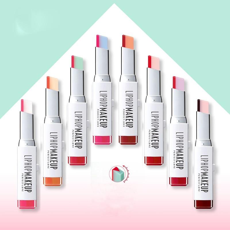 Schönheitsprodukte 8 Farben Feuchtigkeitscreme Lippenstift Make-up Schönheit Farbverlauf Zwei Farbe Farbton Lip Stick Dauerhafte Wasserdicht Lip Balm Für Sexy Lip Lippenstift