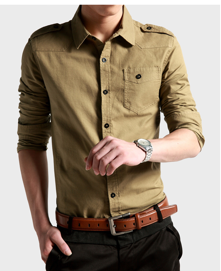 2017 Men Causal Dress Shirt Cotton,men's Army Long Sleeve Slim ...