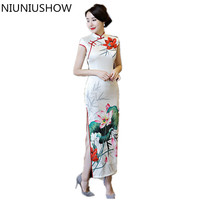 Hot Sale Traditional Chinese Women Long Dress Summer New Silk Satin Qipao Sexy Slim Printed Cheongsam