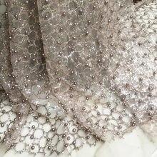 Tela de diseñador para ropa, 1 unidad de 50cm x 150cm, polvo desnudo, cuentas de uñas, Red de copos de bronce, pantalla de lentejuelas