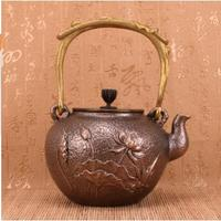 2018 new 1.2L Thousand lotus leaf copper kettle pure copper kettle hand made tea set thickened casting copper kettle