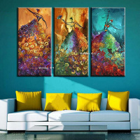 Hand Painted Modern Abstract Canvas Oil Paintings On Canvas Ballet Dancer Wall Pictures Christmas Living Room Home Decoration