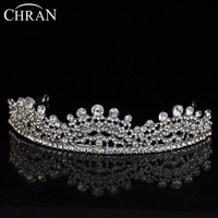 CHRAN Unique Design Silver Color Vintage Bridal Hair Jewelry Charm Women Crystal Princess Tiaras Crown for Ladies Christmas Gift
