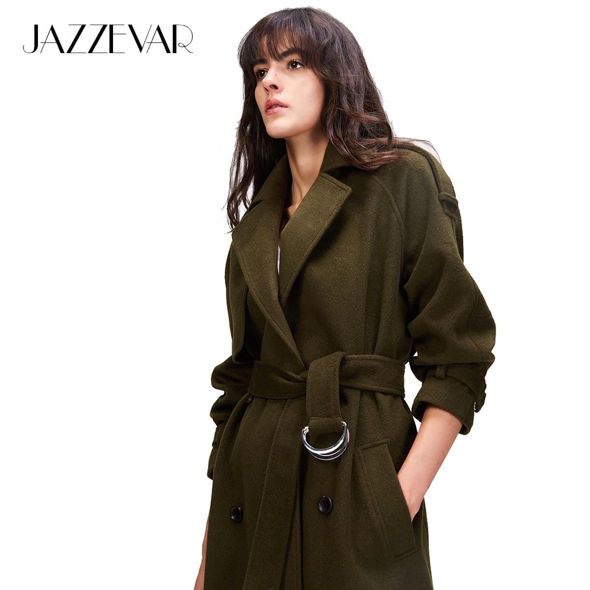 JAZZEVAR 2018 otoño/invierno nuevas mujeres de lana blend trench coat gran tamaño doble de pecho abrigo largo X con cinturón