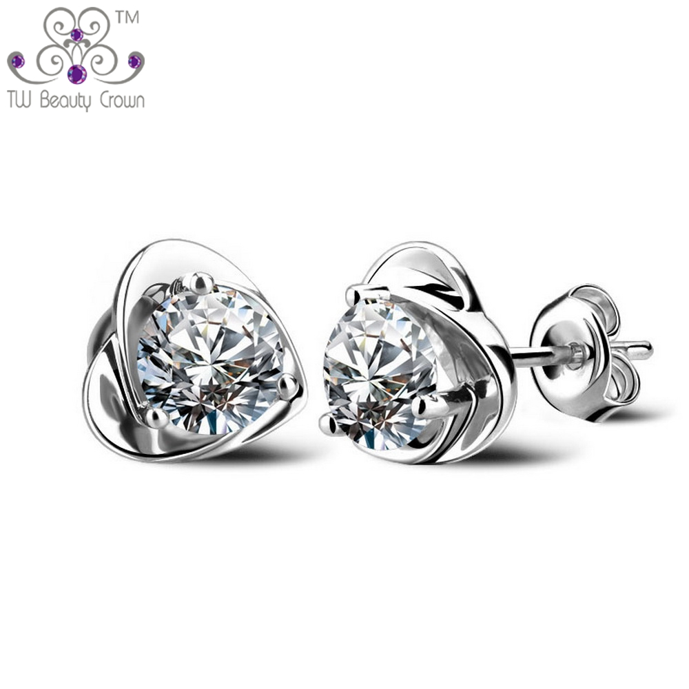 Authentic 925 Pure Silver Simulated Diamond Elegan