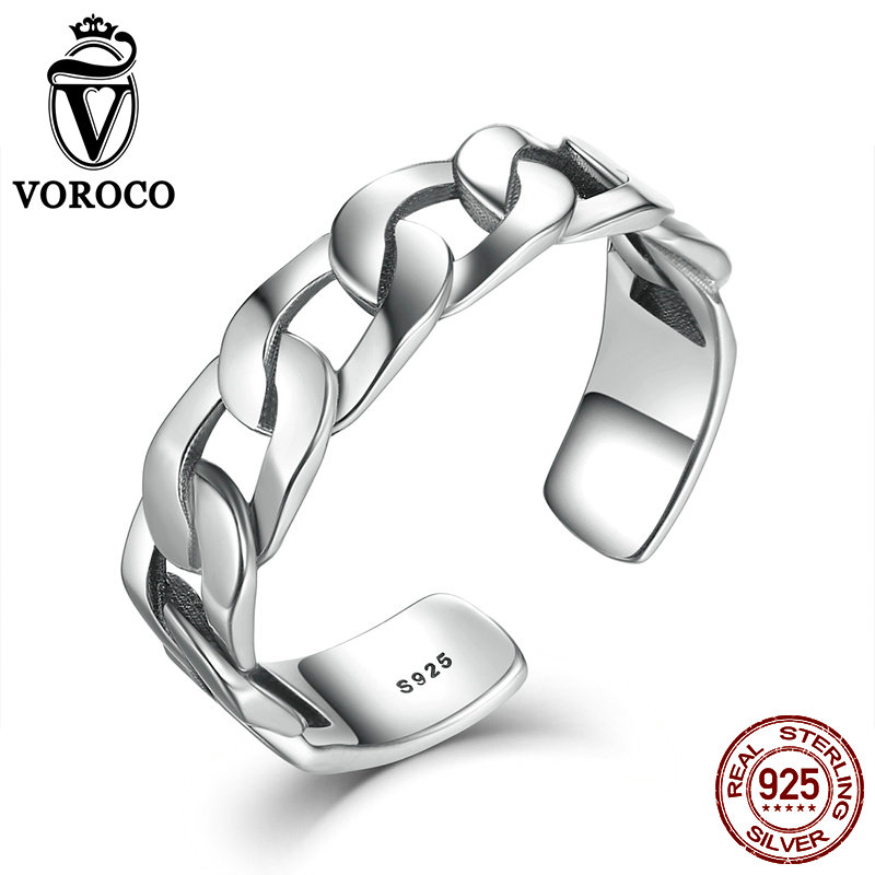 VOROCO Simple Strackable Twine Chain Pattern Rings Cuff Open Adjustable 925 Sterling Silver Ring for Woman Fine Jewelry VSR036