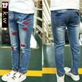 KW Brand 2-8T Light Blue Girls Straight Jeans with Lips Pattern 2017 Spring New Girls Denim Pants Kids jeans for Girls