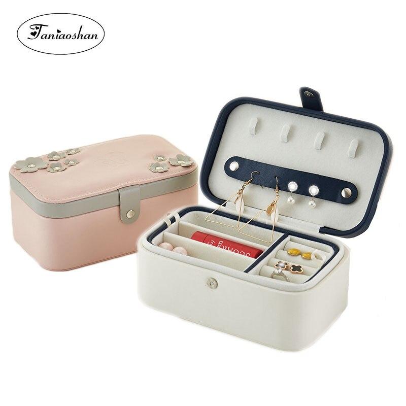New Type Leather Earrings Jewelry Box Lockable Portable Jewelry Organize Pu Creative Jewelry Sets Storage Casket