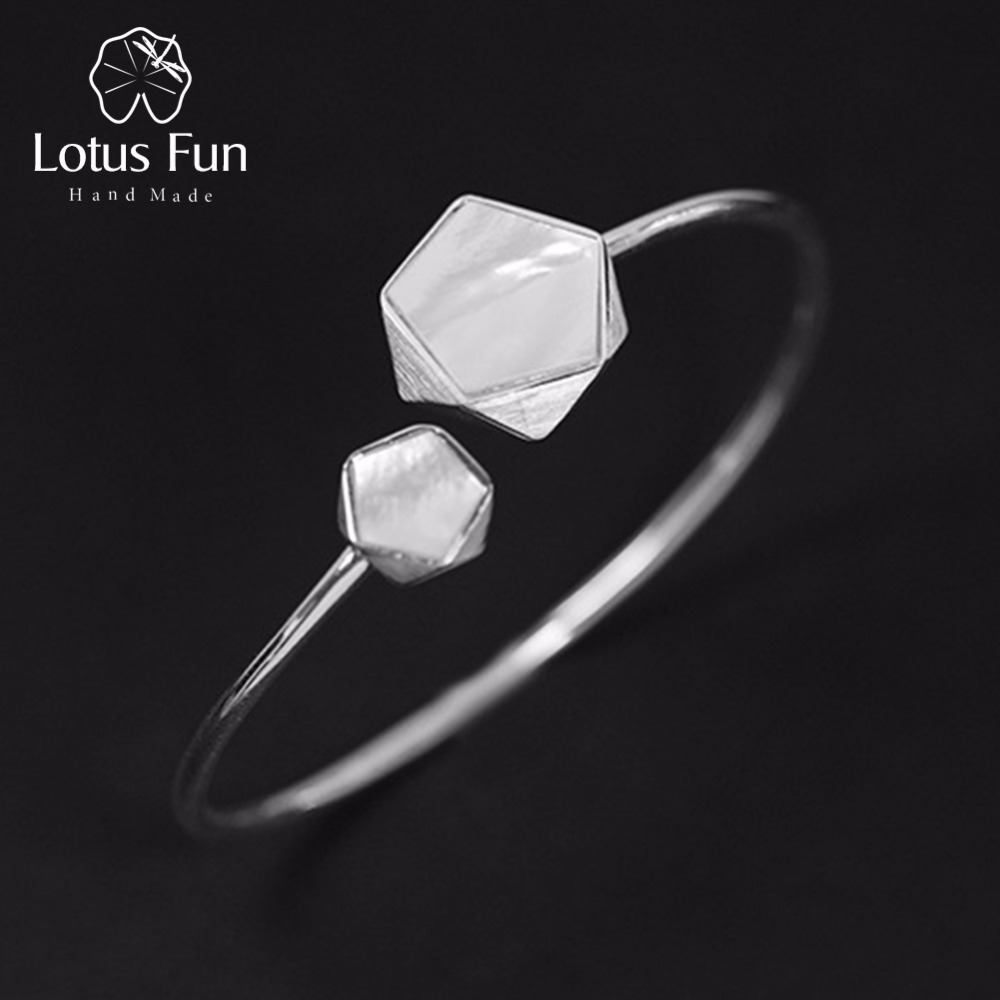 Lotus Fun Real 925 Sterling Silver Creative North European Style Geometric Angles Design Fine Jewelry Bangles for Women